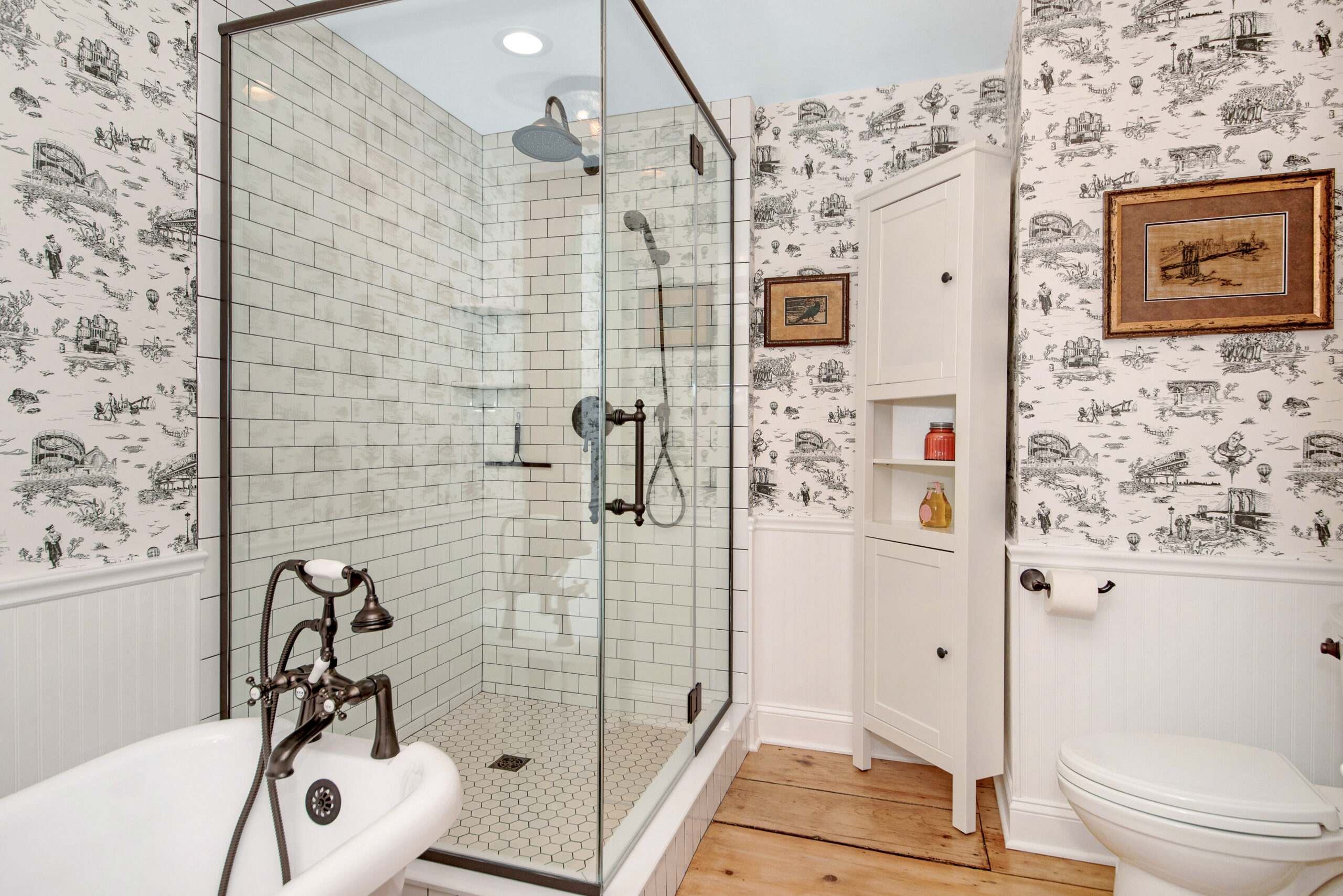 french country subway tile bathroom